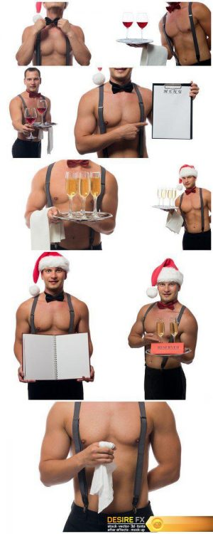 Waiter with a beautiful body brought champagne 9X JPEG