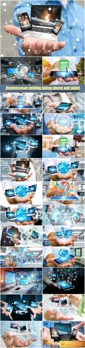 Businessman holding laptop phone and tablet in his hand 3D rendering
