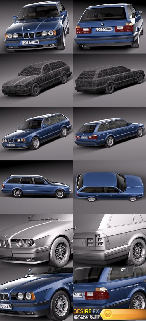 BMW 5-Series E34 Touring 1991 3D Model