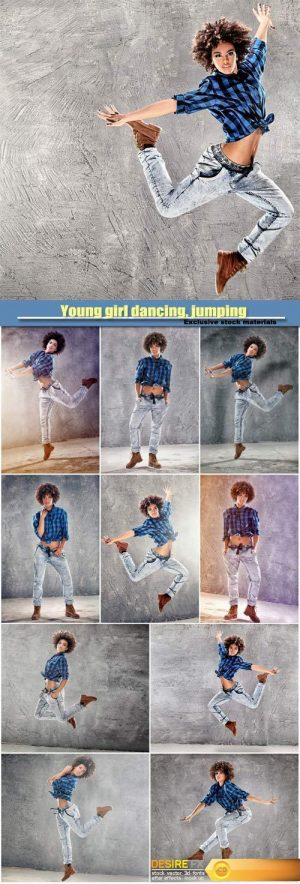Young girl dancing, jumping