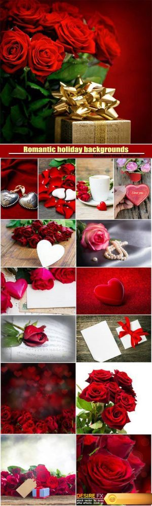 Romantic holiday backgrounds with roses and hearts