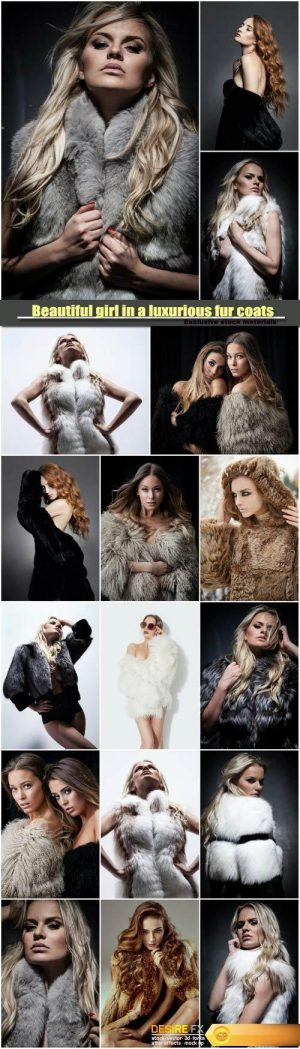 Beautiful girl in a luxurious fur coats