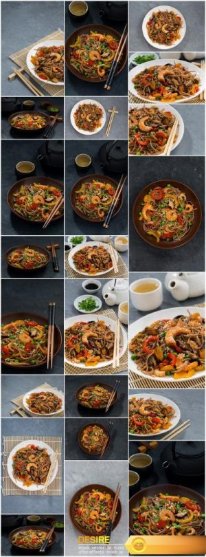 Asian buckwheat noodles with seafood and vegetables – 23xUHQ JPEG