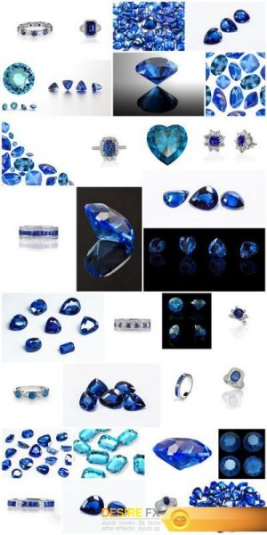 Sapphires – Gemstones, Set of 32xUHQ JPEG Professional Stock Images