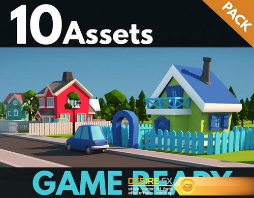 Desirefx com | Download City Houses Low Poly Toon 3D Models