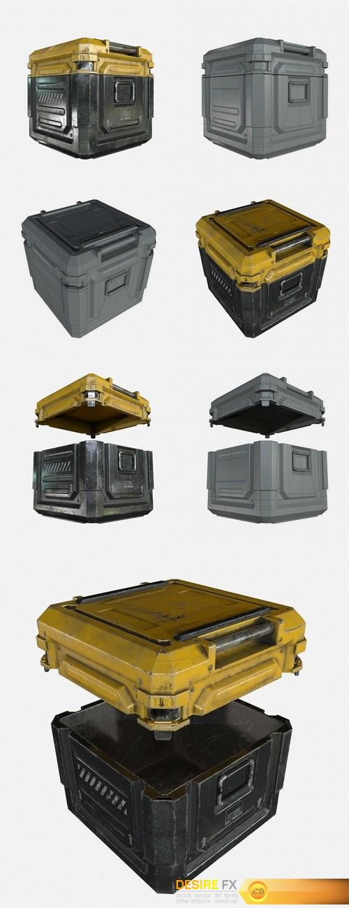 Sci-Fi Industrial Crate Collection 3D Model