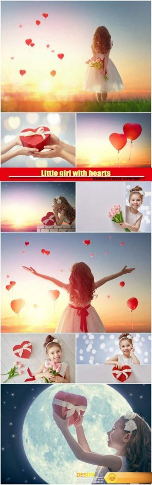 Little girl with hearts