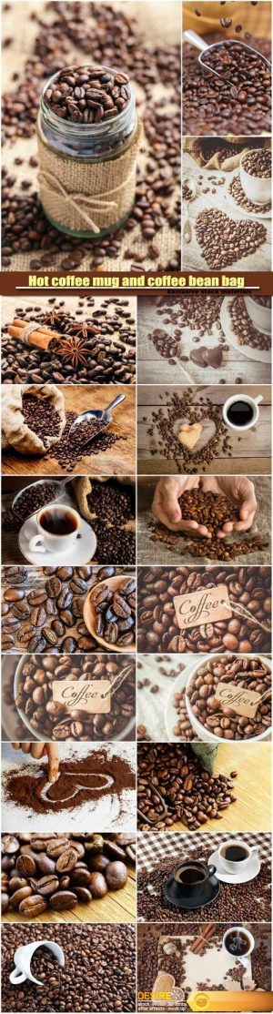 Hot coffee mug and coffee bean bag