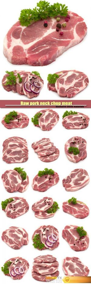 Raw pork neck chop meat with parsley herb leaves, spices and onion slices garnish isolated on white background
