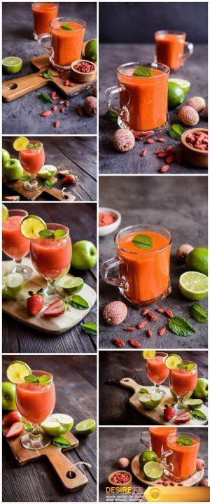 Fresh organic smoothie with apple, strawberry and lime 8X JPEG
