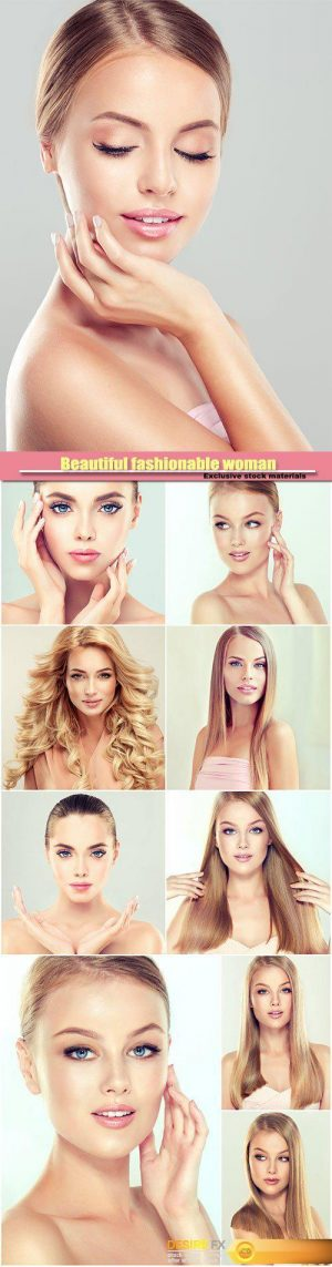 Beautiful fashionable woman, blond girl with make-up and beautiful hair