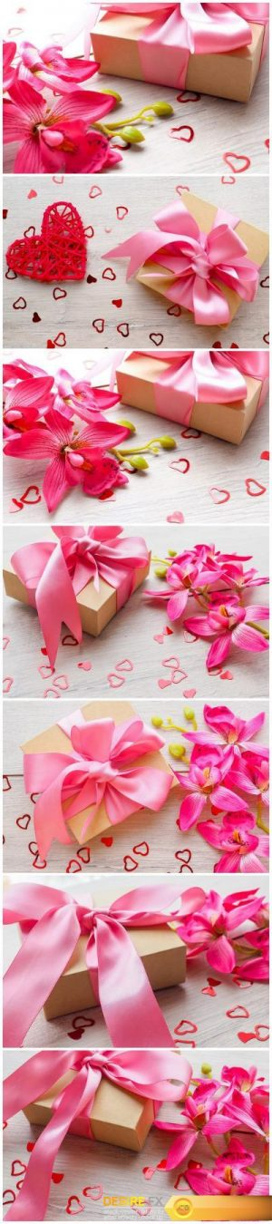 Gentle sweet composition for Valentines day, birthday, wedding in pink and red colors – Set of 7xUHQ JPEG Professional Stock Images