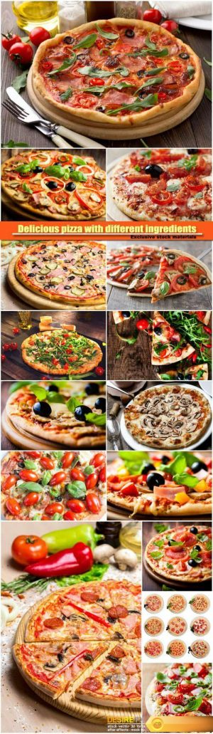 Delicious pizza with different ingredients