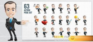 characters - Fashionable Businessman Cartoon Character