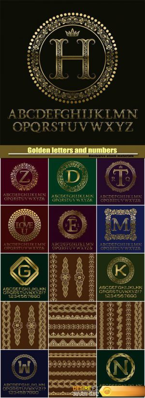 Golden letters and numbers with initial monogram, logo design, english alphabet, gold ornaments and borders