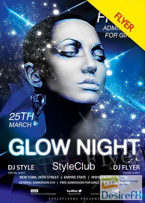 Desirefx com | Download Glow Night Paty V3 2018 Flyer PSD