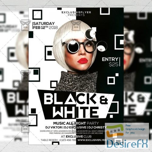 Desirefx Com Download Club A5 Flyer Template Black And