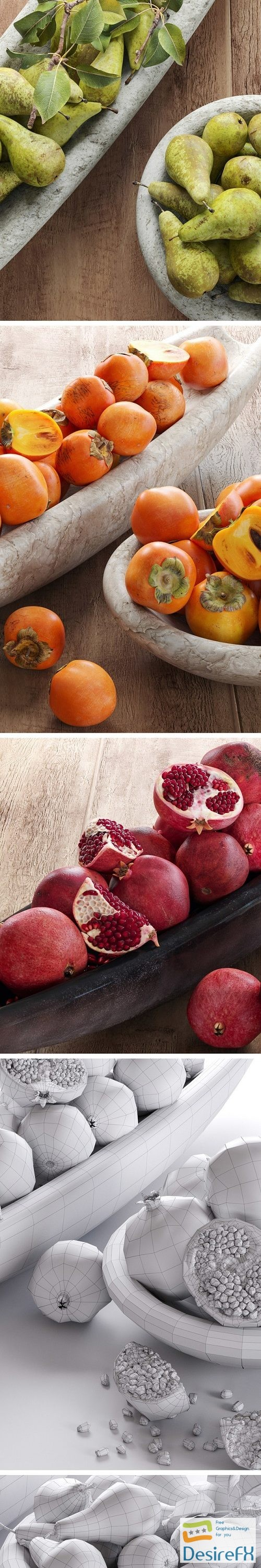 Fruits - pomegranate, figs, persimmon 3D Model