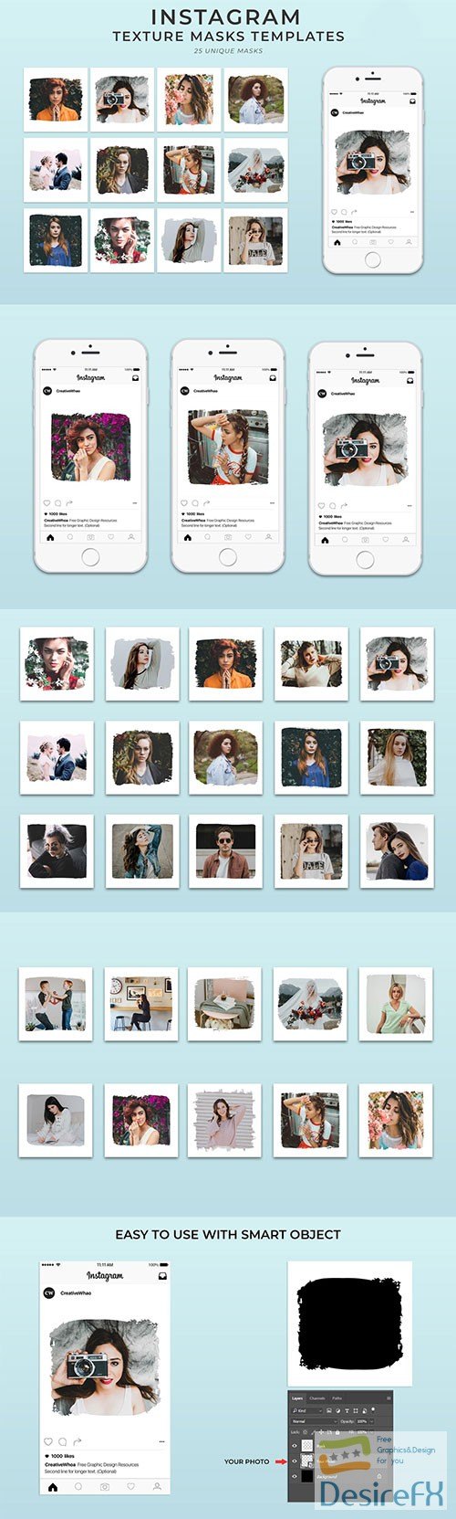 photoshop - 25 Textured Instagram Mask PSD Templates