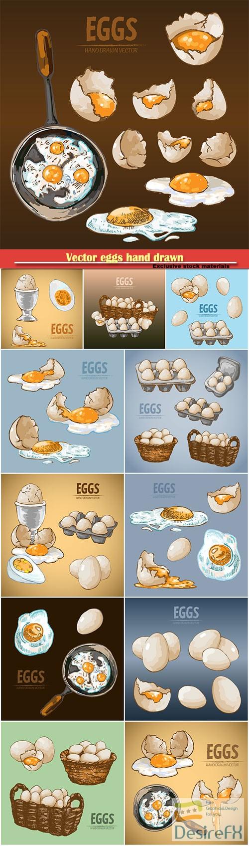 Vector eggs hand drawn retro illustration