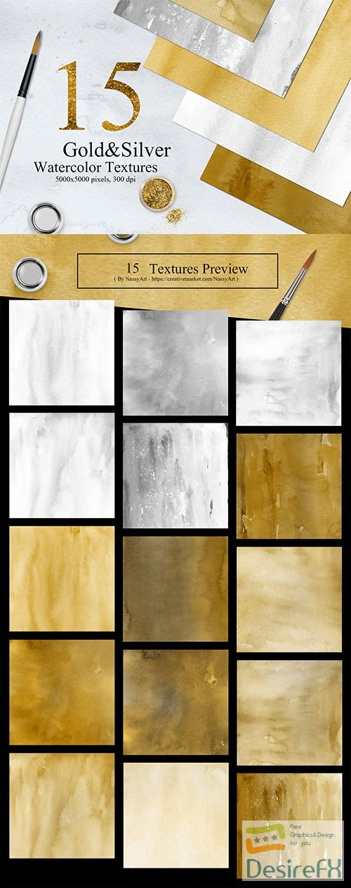 stock-images - 15 Gold and Silver Colors Watercolor Textures