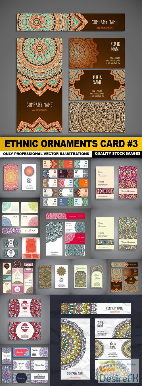 Ethnic Ornaments Card #3 - 15 Vector