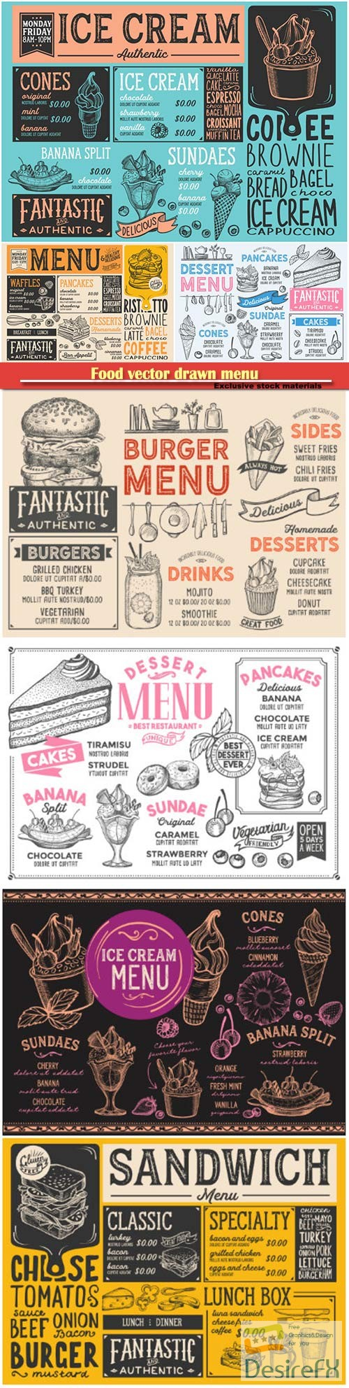 stock-vectors - Food vector drawn menu, fast food, ice cream, cocktails, desserts