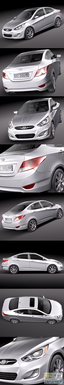 Hyundai Accent sedan 2012 3D Model