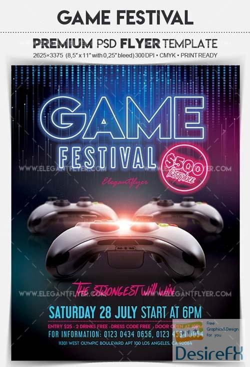 Game Festival V1 2018 Flyer PSD Template