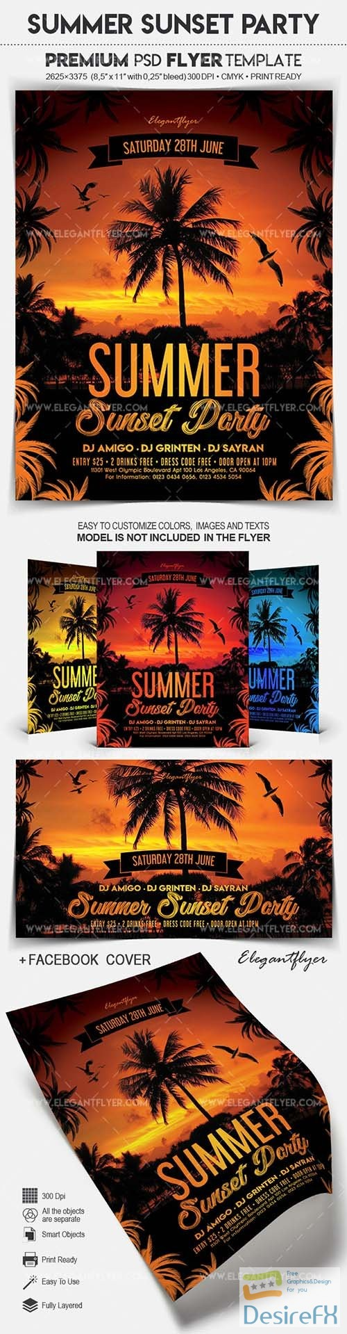 layered-psd - Summer Sunset Party – Flyer PSD Template
