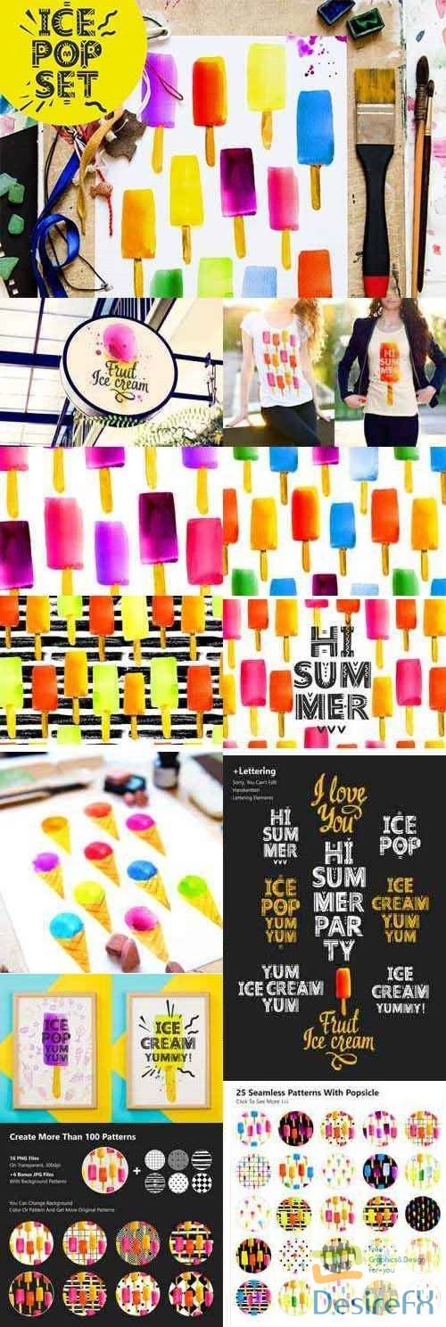 Summer Mood, Watercolor Set With Ice 2462351