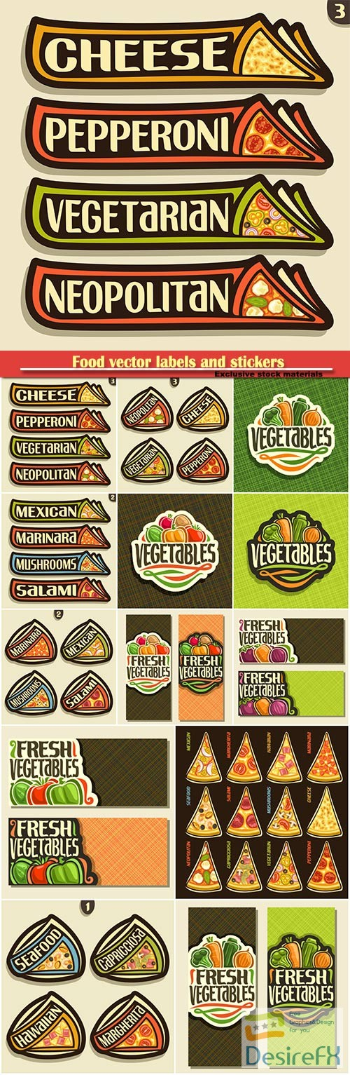 stock-vectors - Food vector labels and stickers in vintage style