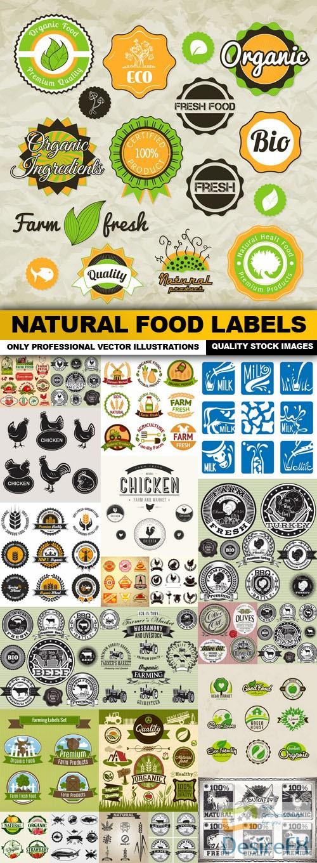 stock-vectors - Natural Food Labels - 25 Vector
