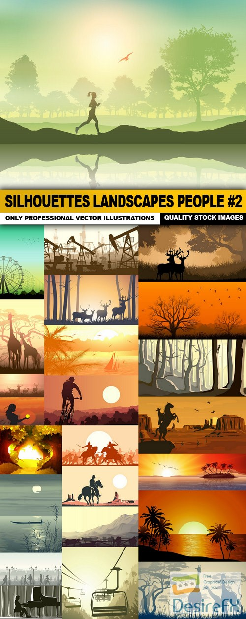 stock-vectors - Silhouettes Landscapes People #2 - 25 Vector