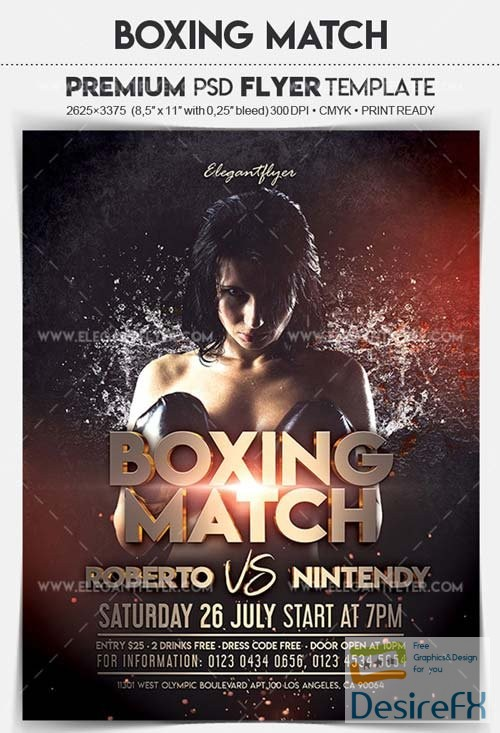 Boxing Match V1 2018 Flyer PSD Template