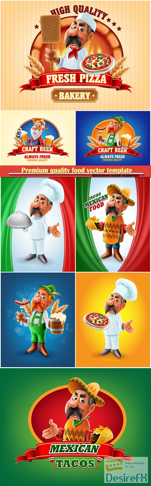 stock-vectors - Premium quality food vector template, pizza, beer, Mexican food