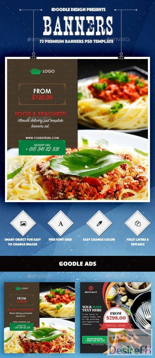 Bundle – Food & Restaurant Banners Ad – 72 PSD 16659211