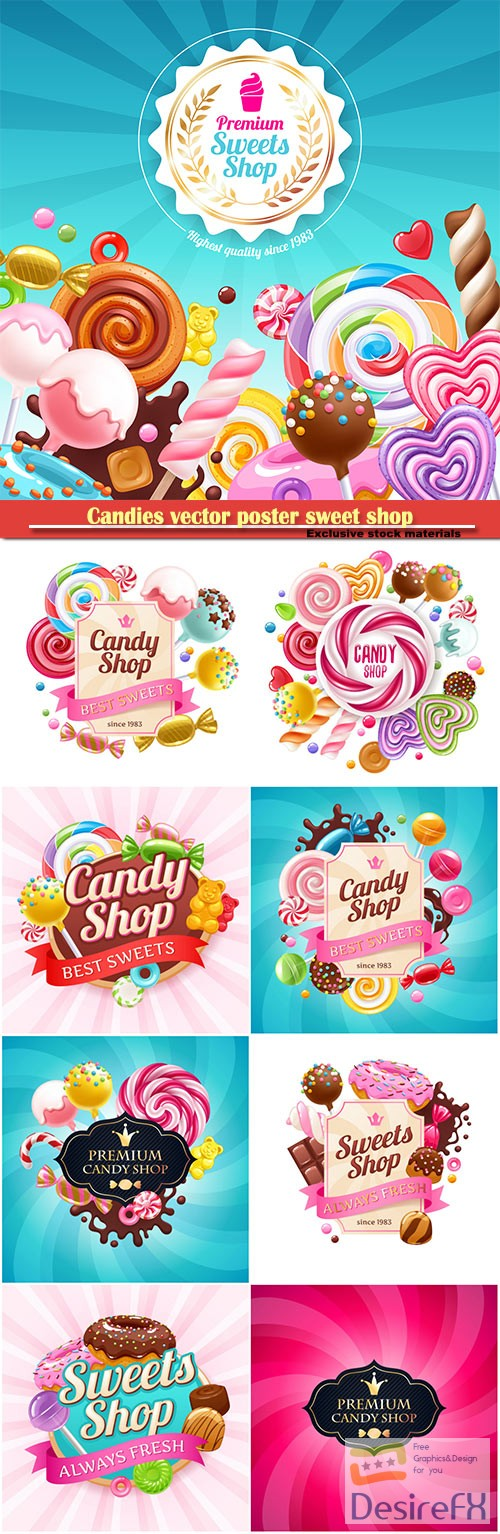 stock-vectors - Candies vector poster sweet shop, background with sweets - lollipops, cake pops, spiral candy, chocolate bar and donuts on shine background