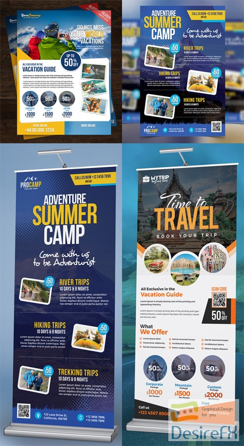 4 Travel Tour & Adventure Summer Flyers/Roll-up PSD Collection