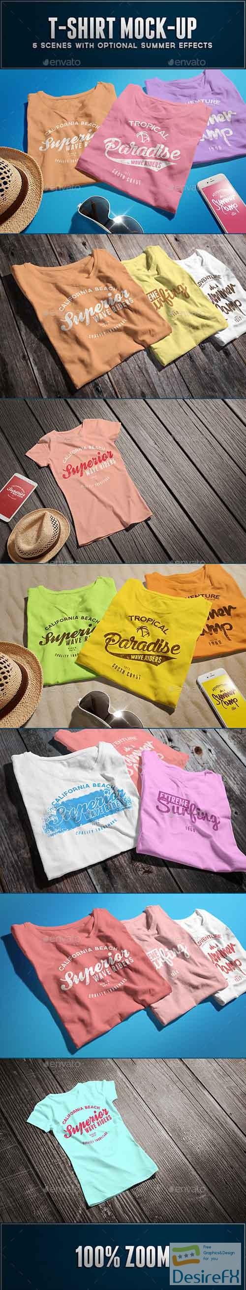 t-shirts-prints - Female T-shirt Mock-up 12717580