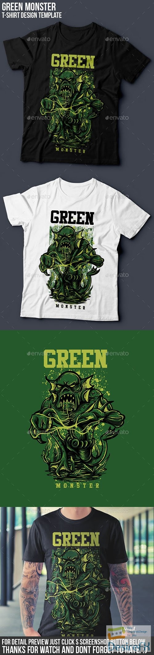 t-shirts-prints - Green Monster T-Shirt Design 14496421