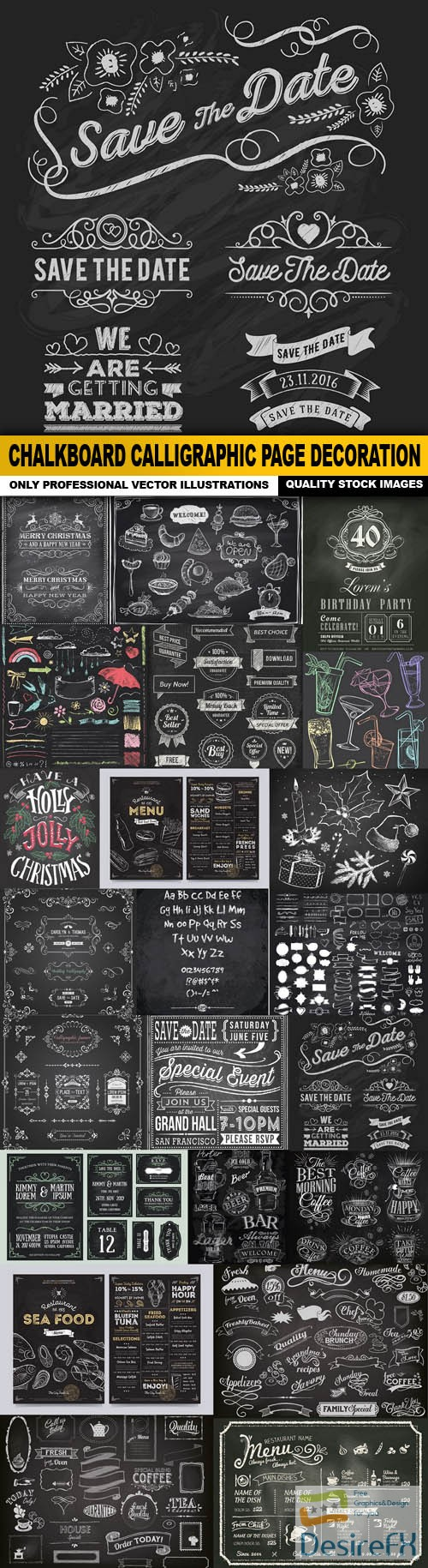 stock-vectors - Chalkboard Calligraphic Page Decoration - 22 Vector