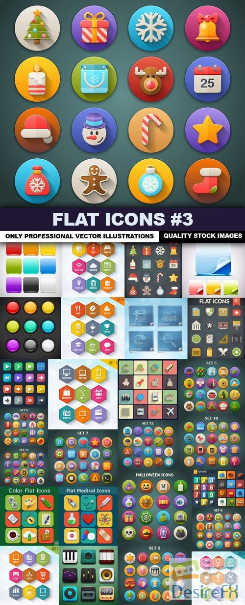 stock-vectors - Flat Icons #3 - 50 Vectors