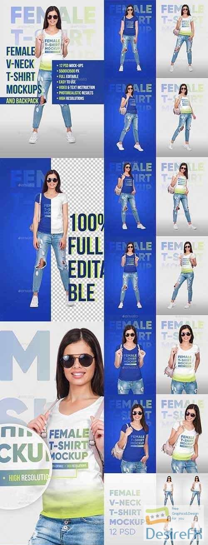 t-shirts-prints - Female Vneck Tshirt And Backpack Mockups 22114447