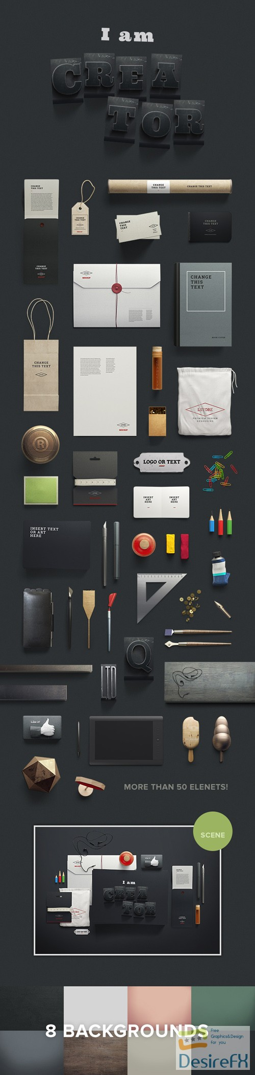 50+ Stationary PSD Mockups Elements