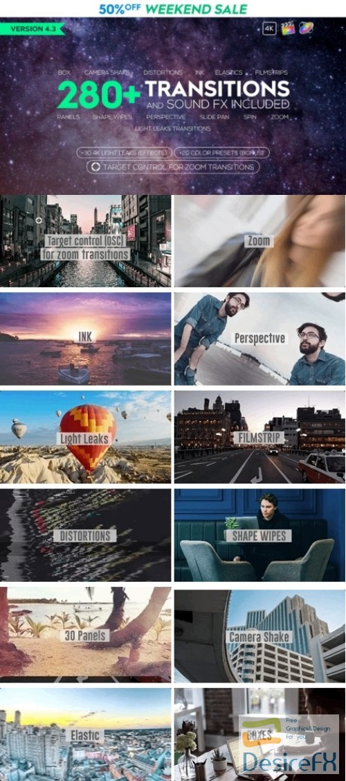 Desirefx com | Download Videohive FCPX 280+ Transitions and Sound FX