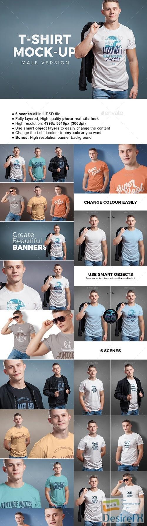t-shirts-prints - Male T-shirt Mock-up 22161321