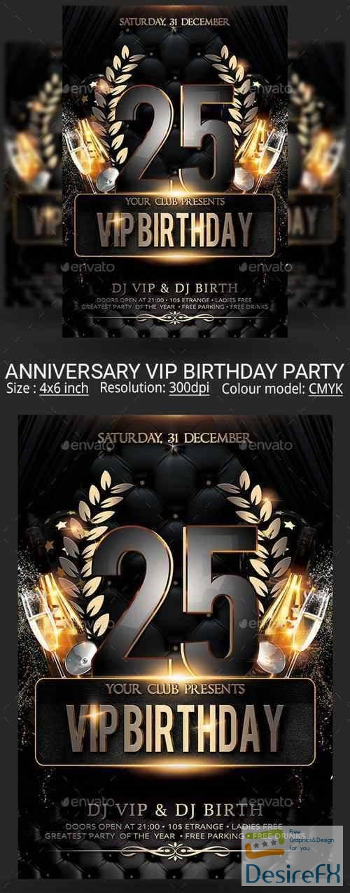 layered-psd - Vip Birthday Anniversary Party Flyer 22489680