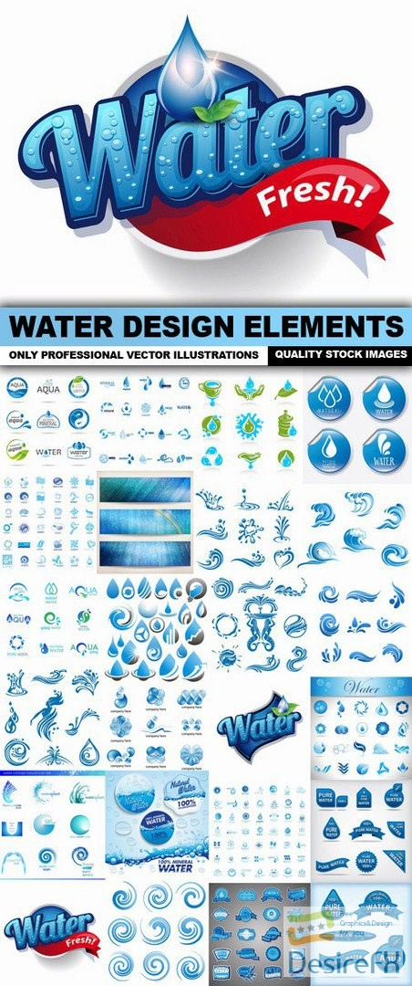 Water Design Elements - 25 Vector