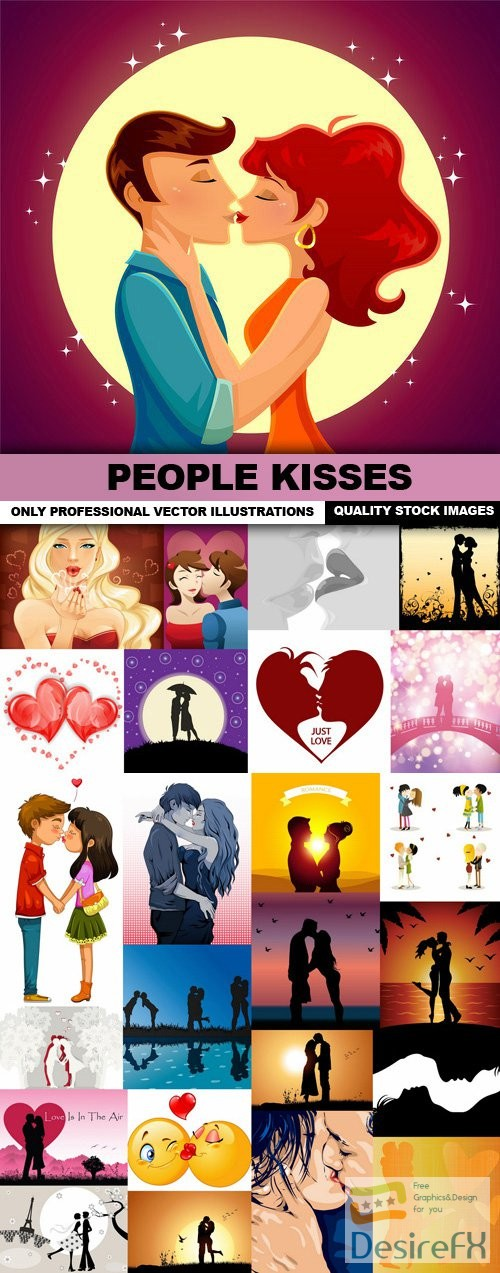 People Kisses - 25 Vector